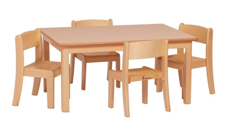 Small Rectangular Table and 4 Beech Stacking Chairs